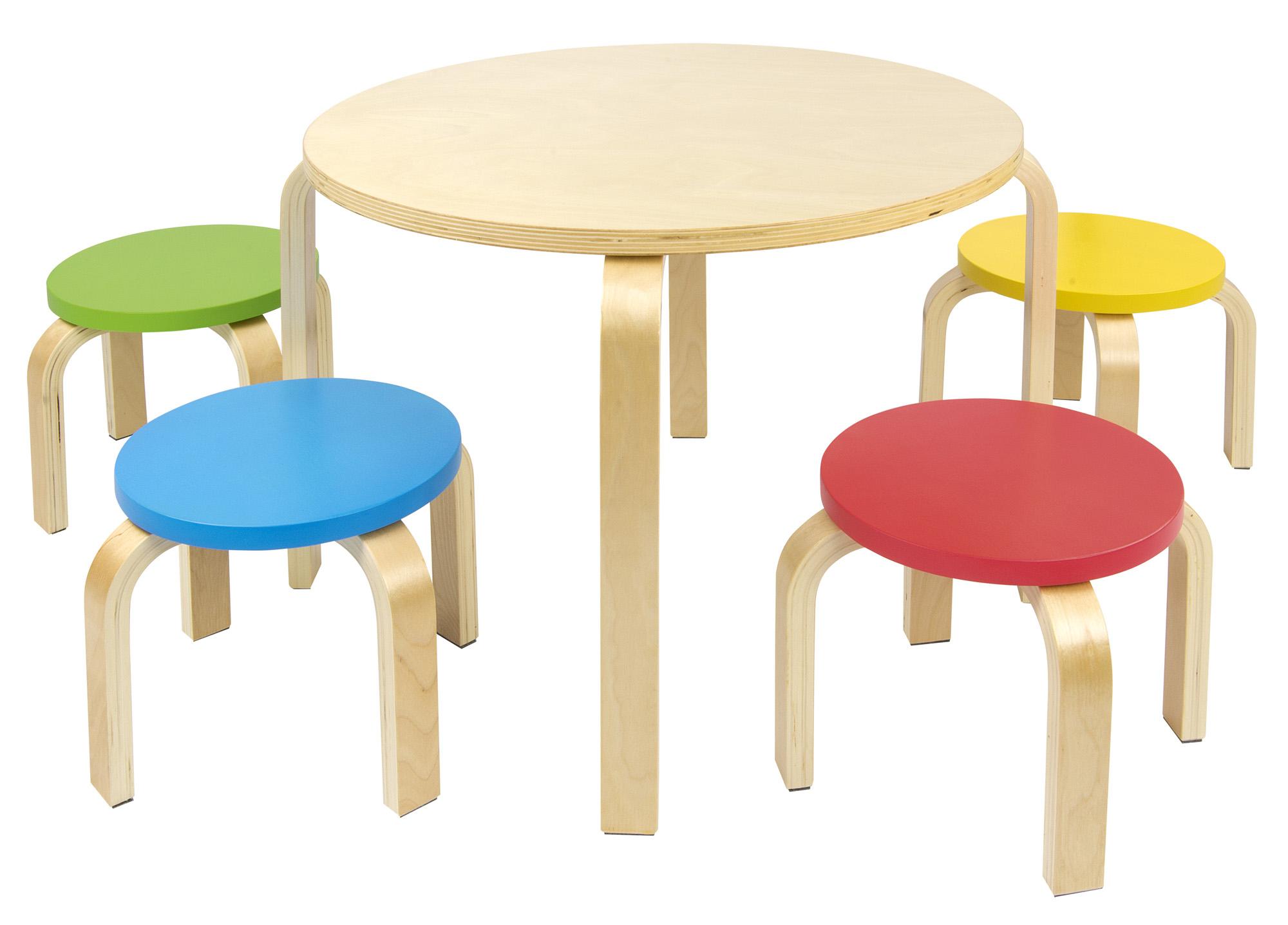 Mesa redonda de madera para ni os m s 4 sillas de colores for Sillas para armar y recortar